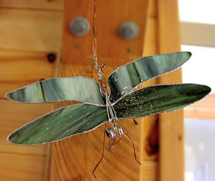 Green glass dragonfly