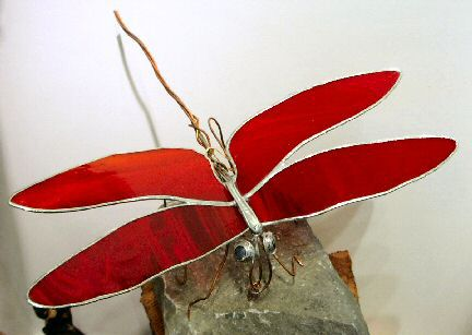 Red glass dragonfly