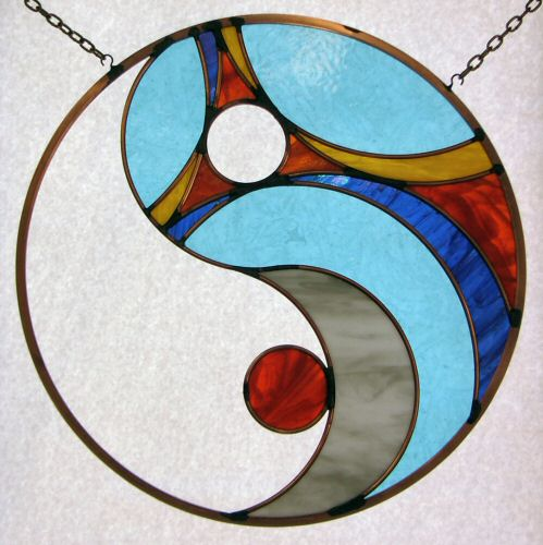 Sun Moon Transformation stained glass