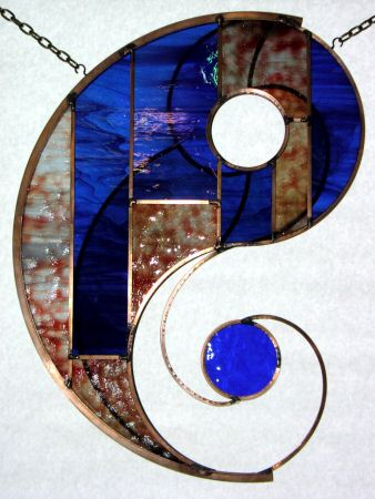 Imagining Yin stained glass hanging view 2