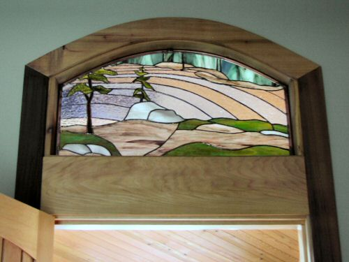 Spectacle Lake Stained Glass transom window ©