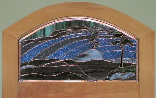 Spectacle Lake stained glass transom ©